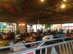 View of bumper cars - waiting in line.